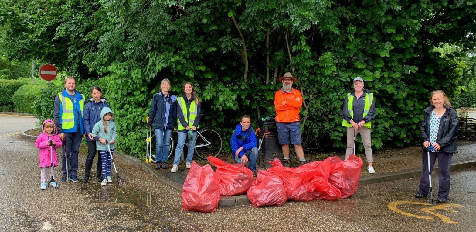 Litter pickers at Swam Meadow
